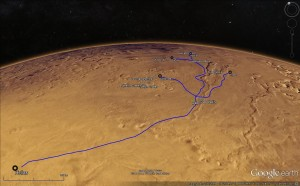 Google Mars image with overlay of fictional rail/supply lines for the Hellas-Dao colony.